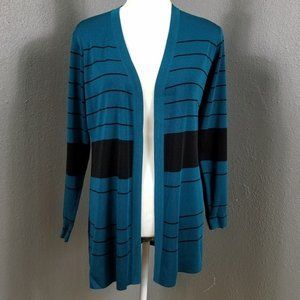 Exclusively Misook S Cardigan Sweater Teal Black